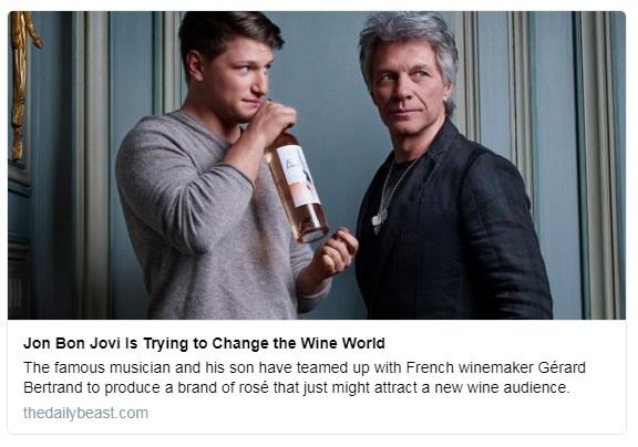 Bon Jovi y su hijo colocan en Wine Spectator su vino